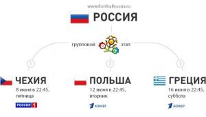 расписание игр (календарь) сборной россии евро 2012